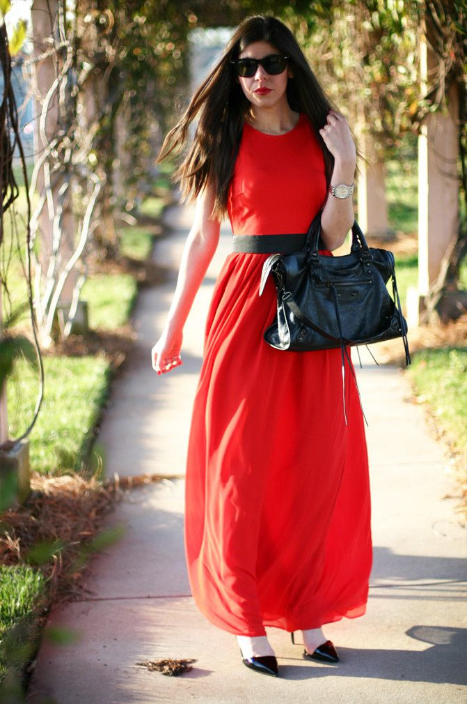 Armani Exchange Red Maxi Dress, Balenciaga Classic City Bag, Stella McCartney patent slingback heels, Fashion