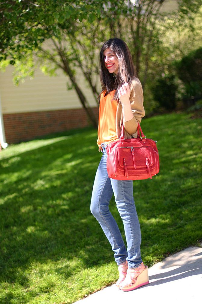 Lancaster Paris red bag, Espadrille wedges, Fashion outfit