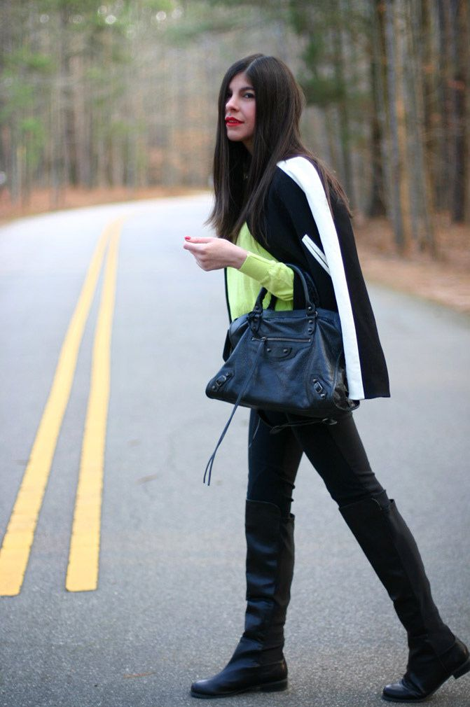 Zara, Phillip Lim, Varsity Jacket, Balenciaga city bag, Fashion, Outfit, Neon Style