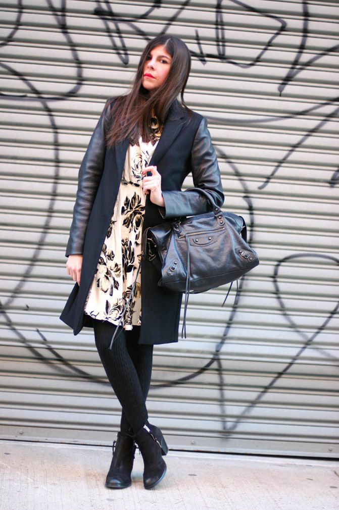 Zara leather coat, Alice+Olivia dress, Topshop Ambush boots, New York Fashion Week
