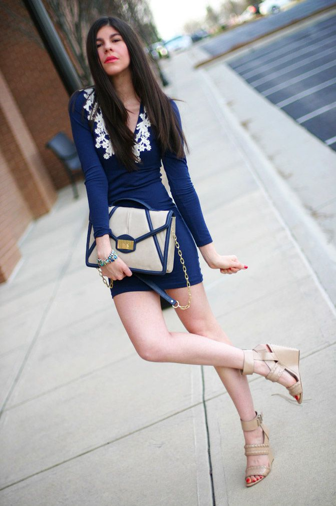 Navy Dress + Wang Wedges