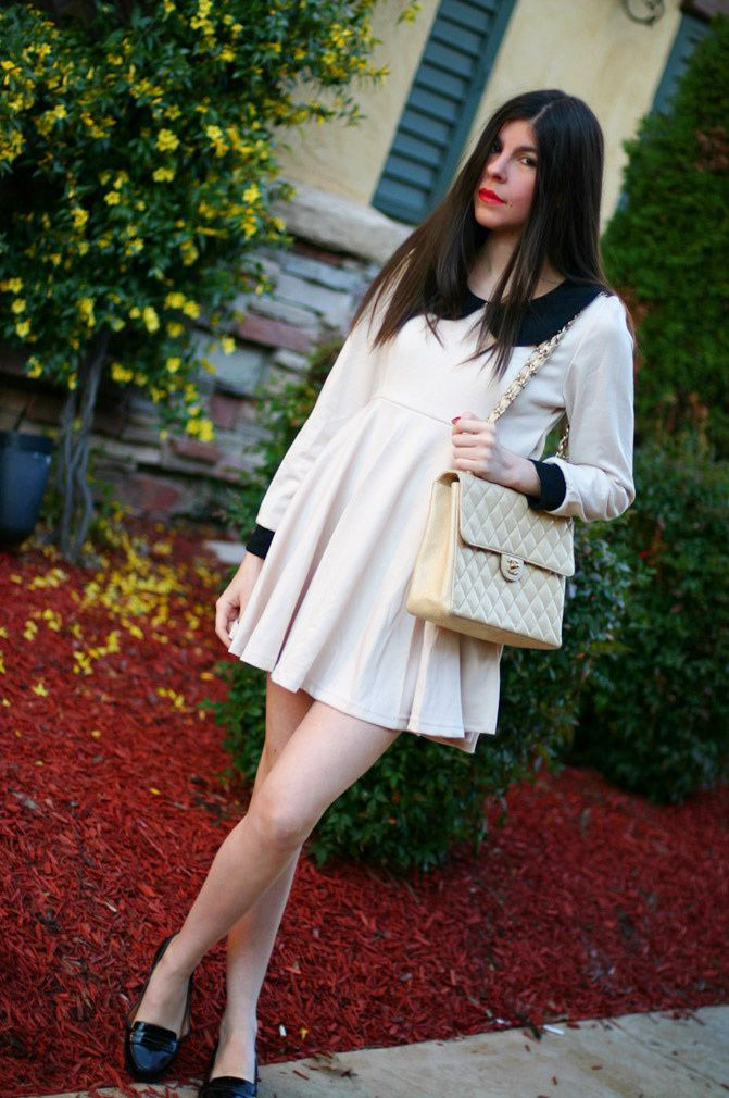 Peter Pan Collar dress, Chanel Maxi Flap Caviar bag, Fashion, Outfit, Patent Penny Loafers