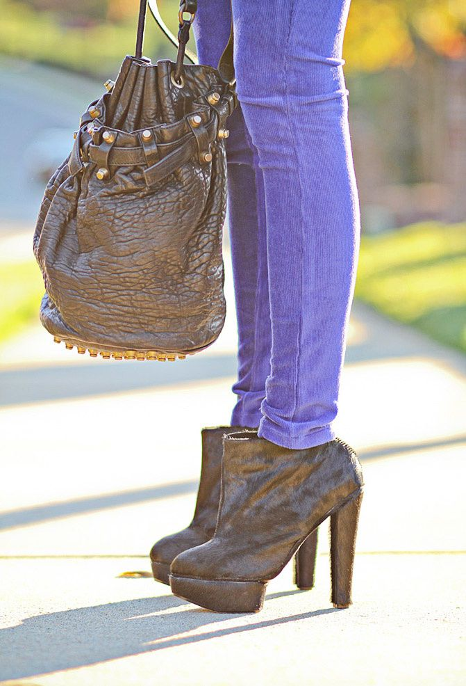 Senso pony hair ankle boots, Alexander Wang Diego Bucket Bag, Fashion, Hue corduroy ribbed leggings