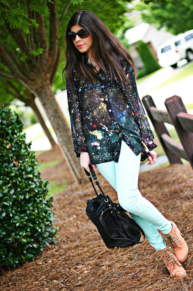 Alexander Wang boots, Galaxy print blouse, skinny jeans, alexander wang diego bucket bag, Fashion