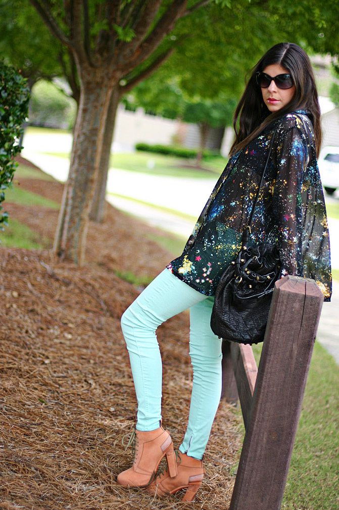 Alexander Wang boots, Galaxy print blouse, skinny jeans, alexander wang diego bucket bag, Fashion