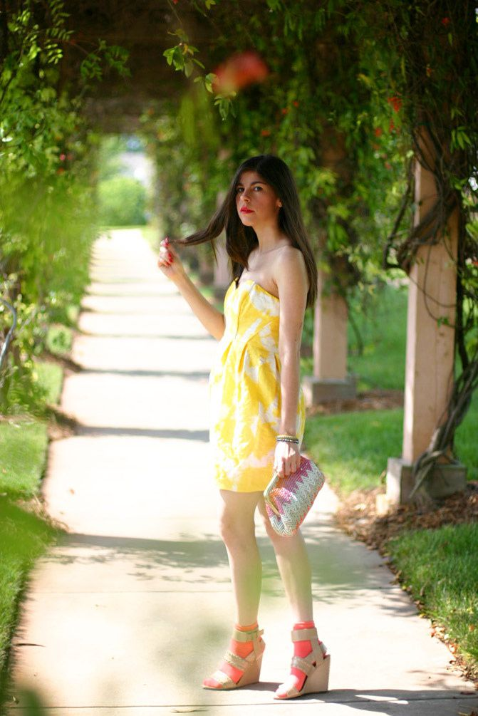 Shoshanna Jane Strapless Yellow Dress, Alexander Wang nude wedge sandals, Fashion