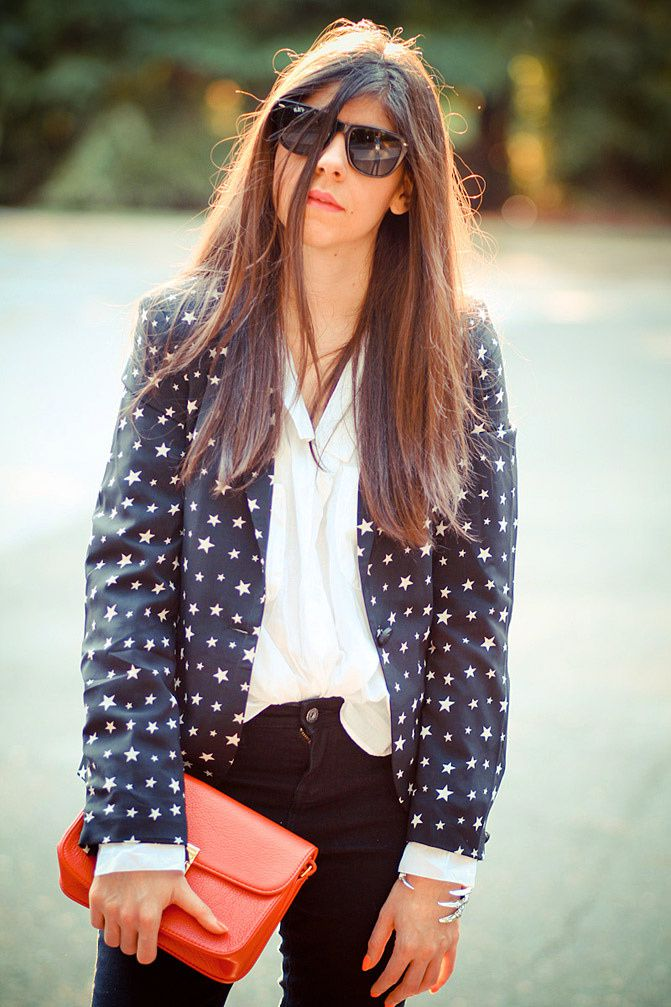 Saddle Shoes, Celine bag, Talon cuff pamela love, Fashion, Outfit, Star print blazer