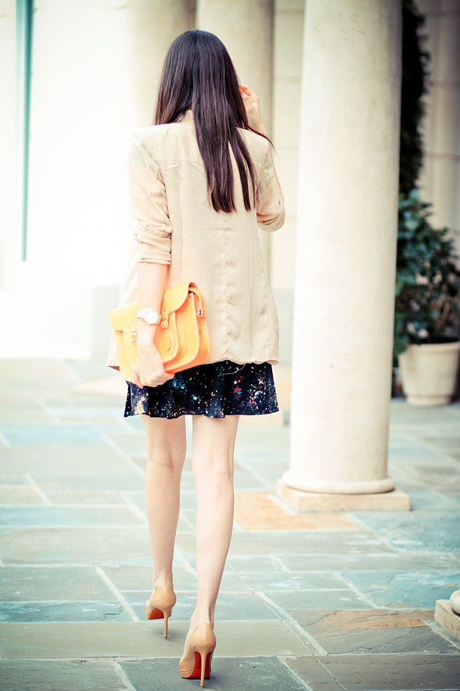 Galaxy Print Skirt, Audrey Hepburn style, Breakfast at Tiffany's shirt, Fluorescent Cambridge satchel, Marc Jacobs watch, Christian Louboutin Pigalle shoes, Blazer Fashion