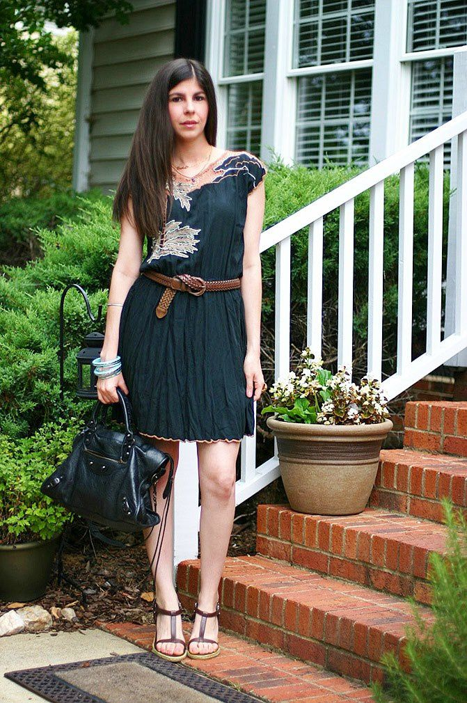Vintage crochet dress, Balenciaga classic city bag, YSL arty oval ring, Fashion