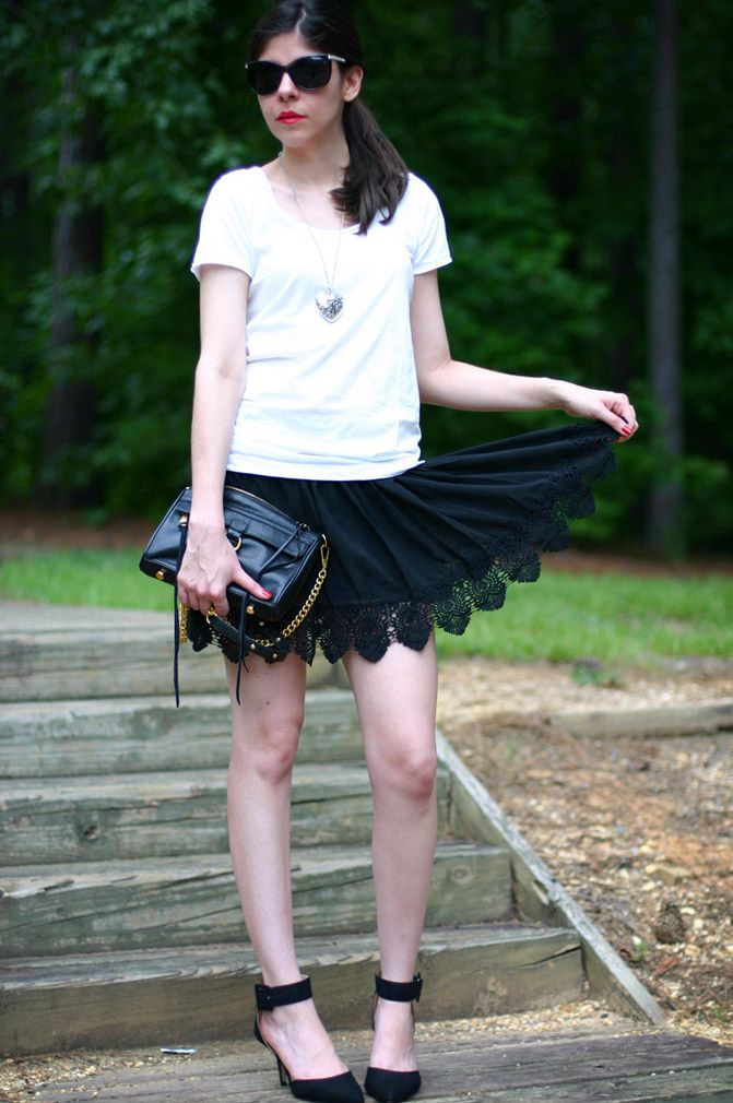 Lace skirt, Zara heels, Rebecca Minkoff M.A.C. Bag, Fashion Outfit