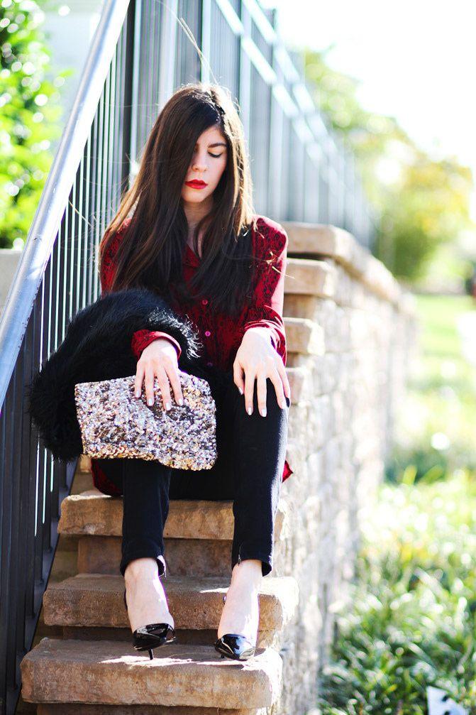 Stella McCartney sling back heels, Topshop skinny jeans, faux fur vest, Fashion outfit