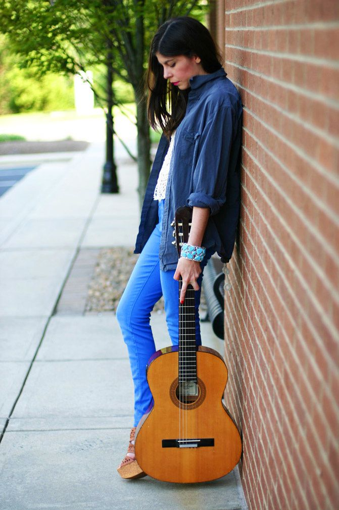 skinny zipper jeans, agave denim, fashion, guitar, crochet crop top, wanted anita wedges, j crew boyfriend