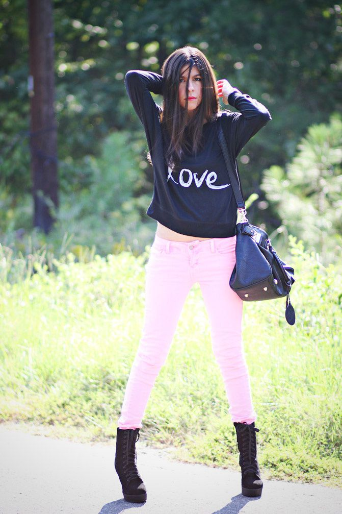 fluorescent pink skinny jeans, fashion, love