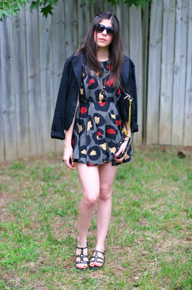 blazer, polkadot dress, fashion