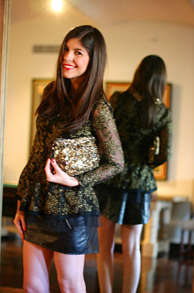 sequin peter pan blouse, zara gold sequin clutch, new york fashion week, zara ankle strap heels,