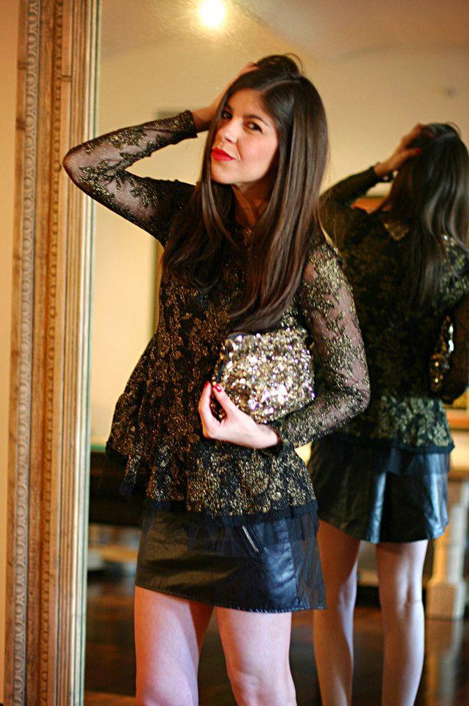 sequin peter pan blouse, zara gold sequin clutch, new york fashion week, zara ankle strap heels,