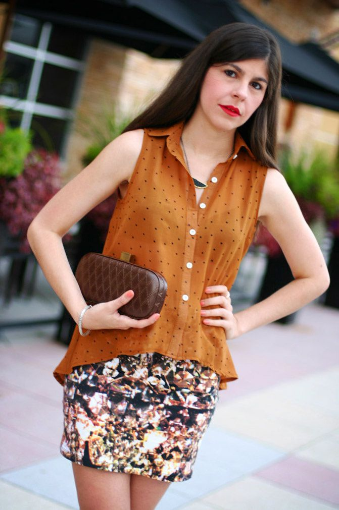 polkadot blouse, high low blouse, fashion outfit, hobo bags, etienne aigner shoes