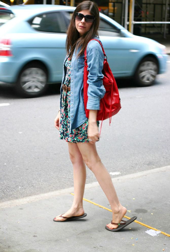 MOMA, New York, Topshop denim shirt, Balenciaga day hobo bag, sanuk sandals, Floral romper erin wasson kate moss