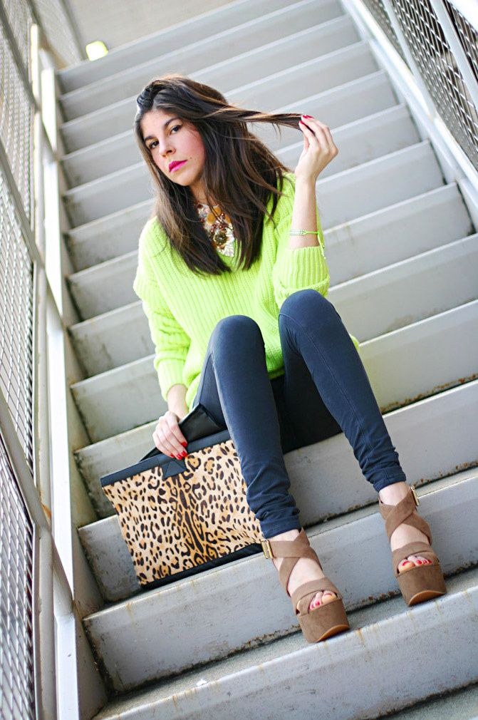 fluo fashion, neon, leopard print