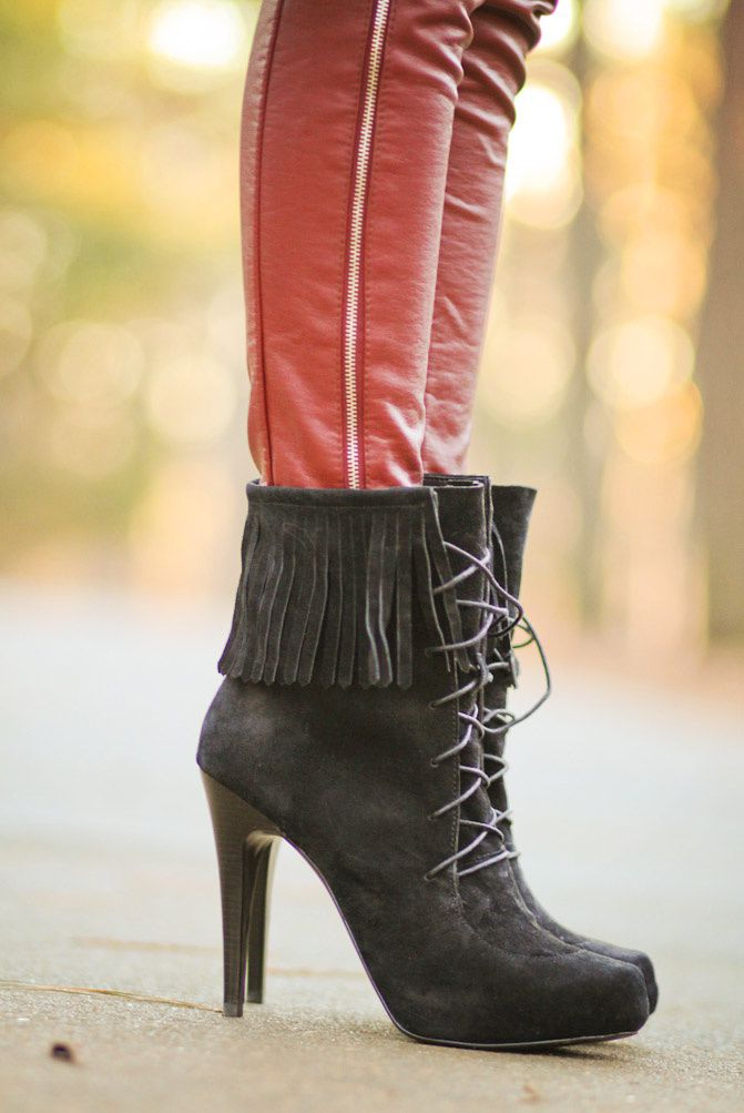 Balmain fringe boots, Red skinny Leather pants, Fashion