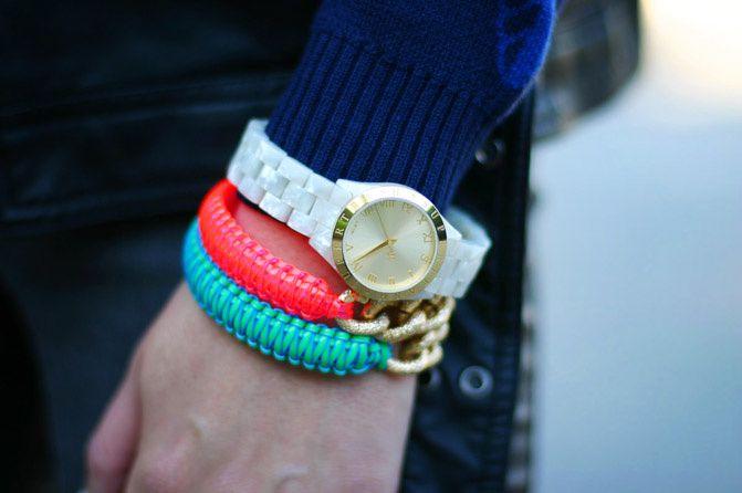 supertrash fashion watch, neon friendship bracelets