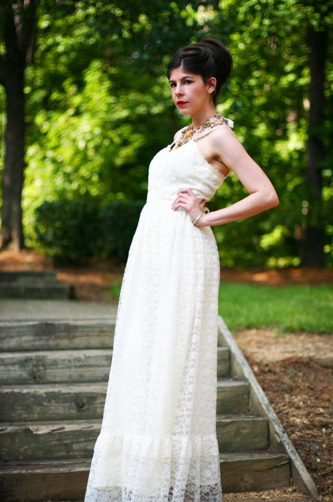 maxi lace dress, alexander wang wedge sandals, statement necklace, audrey hepburn hairstyle