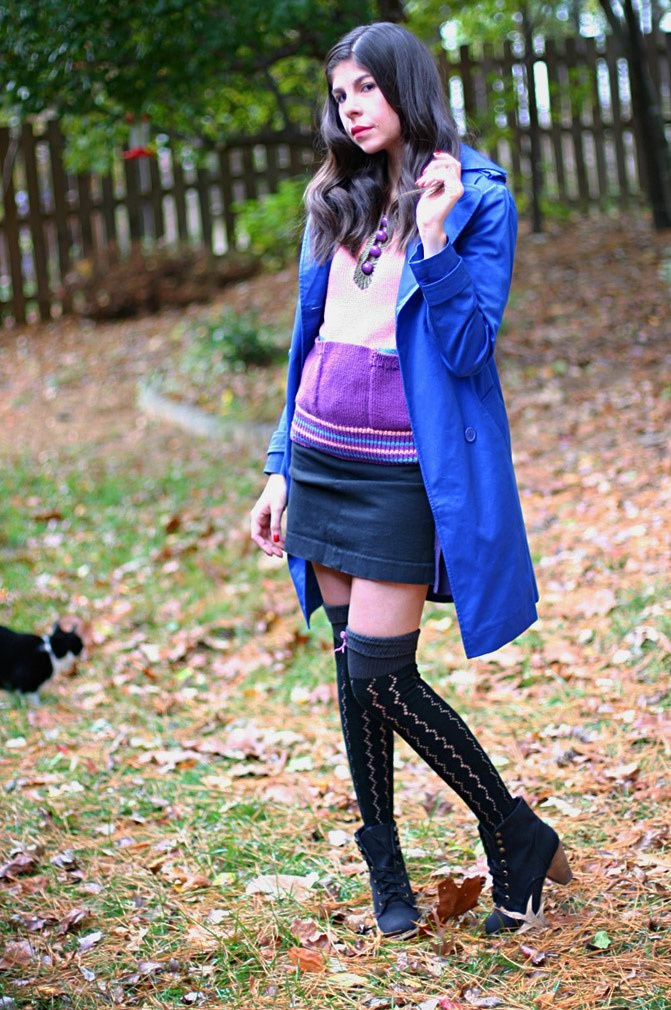 Victoria's Secret Trench coat in blue, Juicy Couture knee socks, Marc by Marc Jacobs sweater, Fashion, Outfit