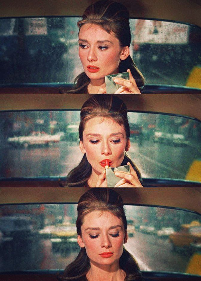 Audrey Hepburn in Breakfast at Tiffanys, red lipstick, Fashion and Beauty