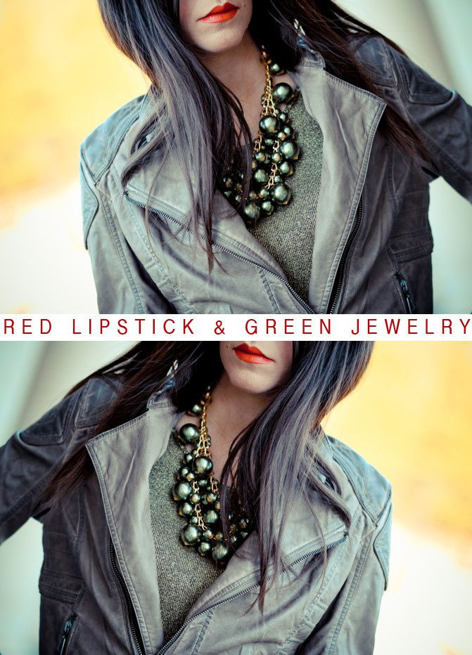 Leather Jacket, Green Statement Necklace, Fashion Outfit, Cover Girl Red Lipstick
