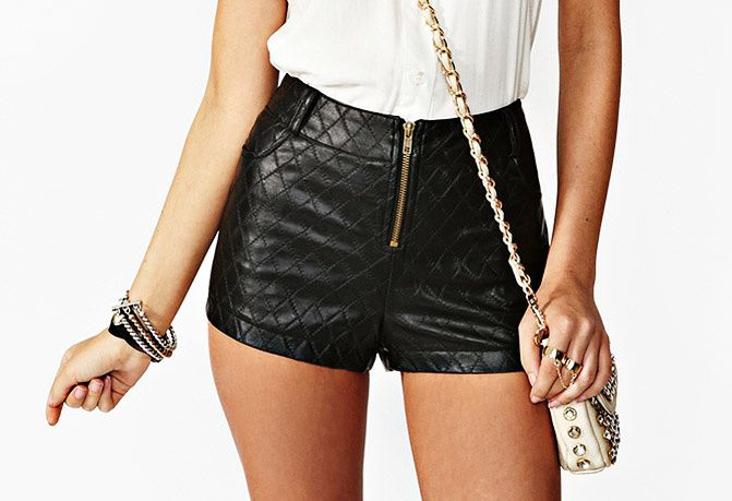 nasty gal quilted leather shorts