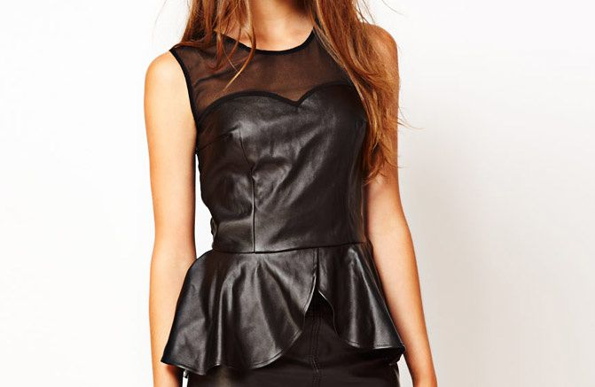 asos leather peplum blouse