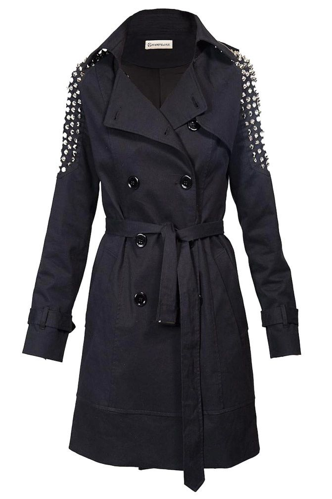 Studded Trench Coat, Shampalove, Fashion