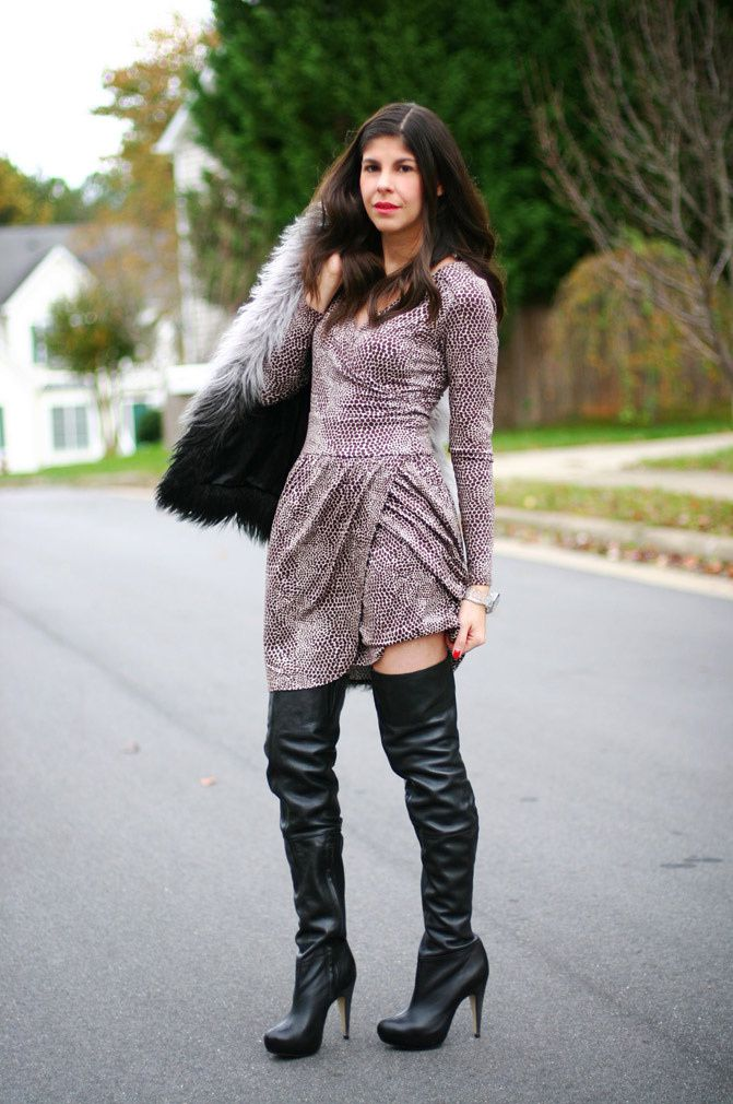 Topshop over the knee boots, dvf wrap dress, la mer collection watch, victoria's secret ombre faux fur vest, fashion