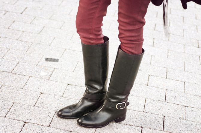 red skinny jeans, hudson jeans, leather riding boots, rebecca minkoff mac, fashion outfit