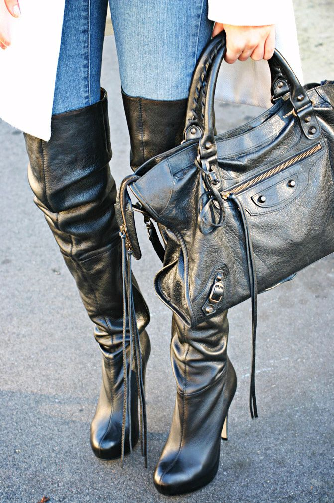 Balenciaga Motorcycle le dix city bag, Fashion, Topshop over the knee leather boots