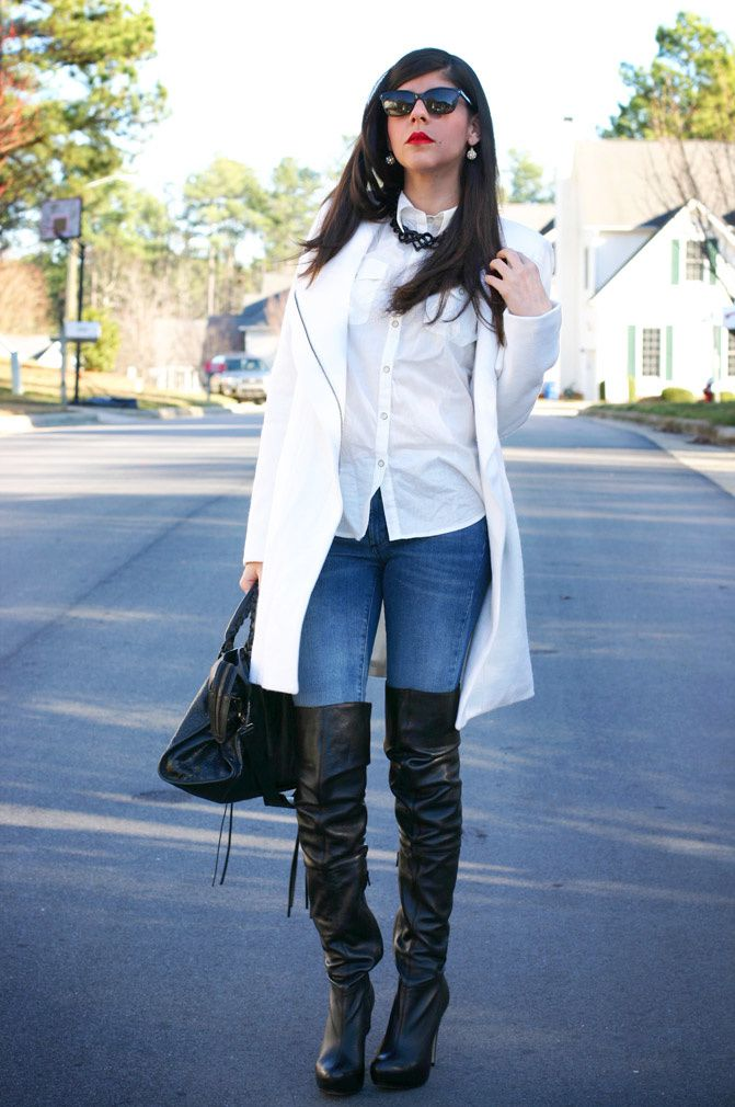 white coat, topshop over the knee boots, balenciaga classic city moto bag, fashion, outfit, red lipstick