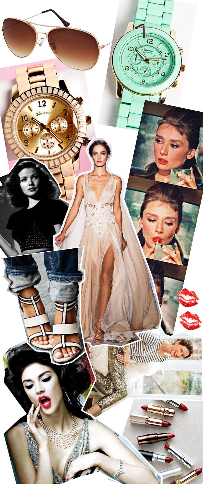 fashion collage, audrey hepburn, red lipstick, style, couture
