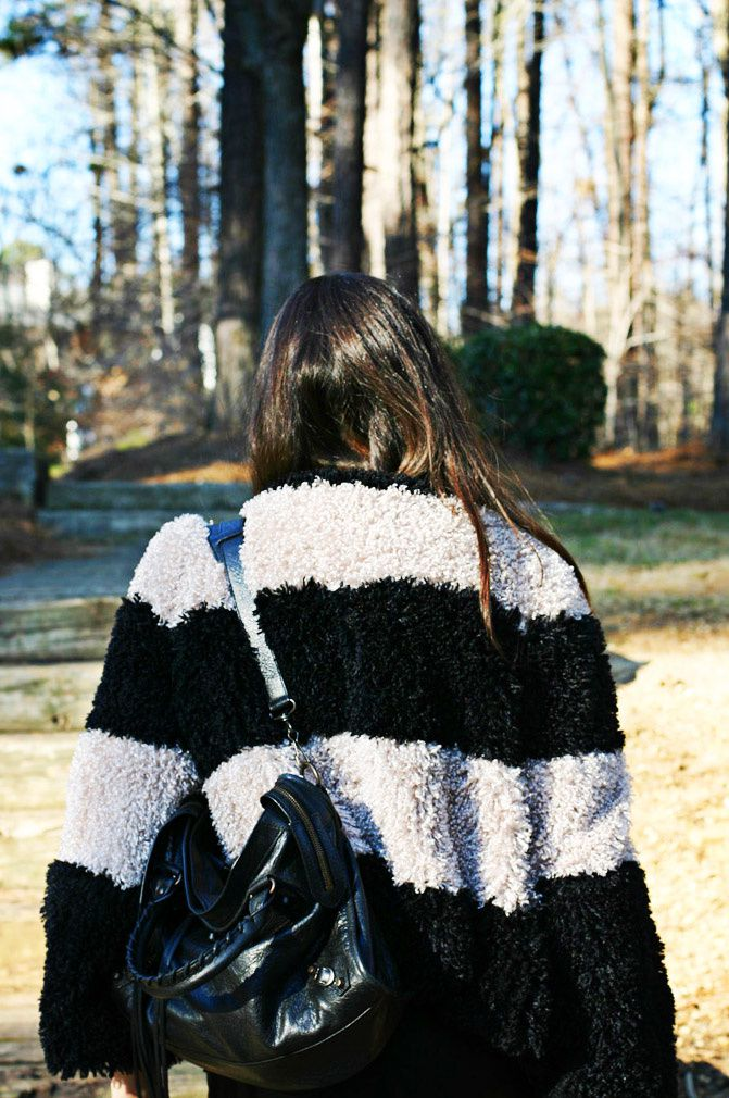 Stripes, Fashion, faux fur, balenciaga classic city bag