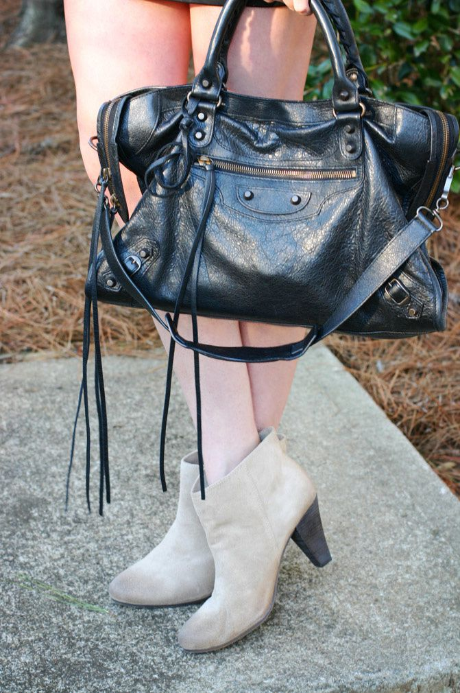 fashion outfit, leather skirt, balenciaga bag, isabel marant style ankle boots