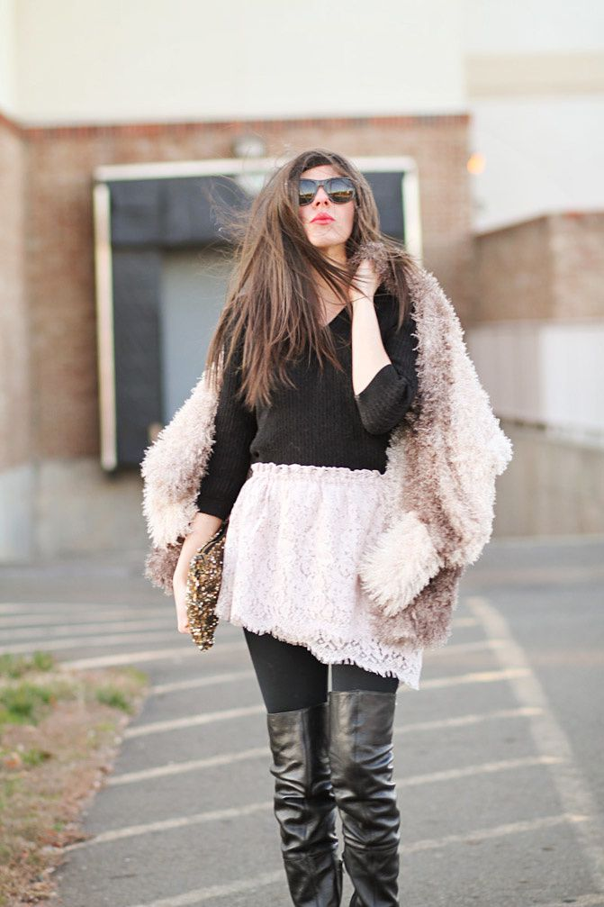 topshop over the knee boots, nasty gal fur, nars lipstick, ray-ban wayfarer sunglasses, zara clutch