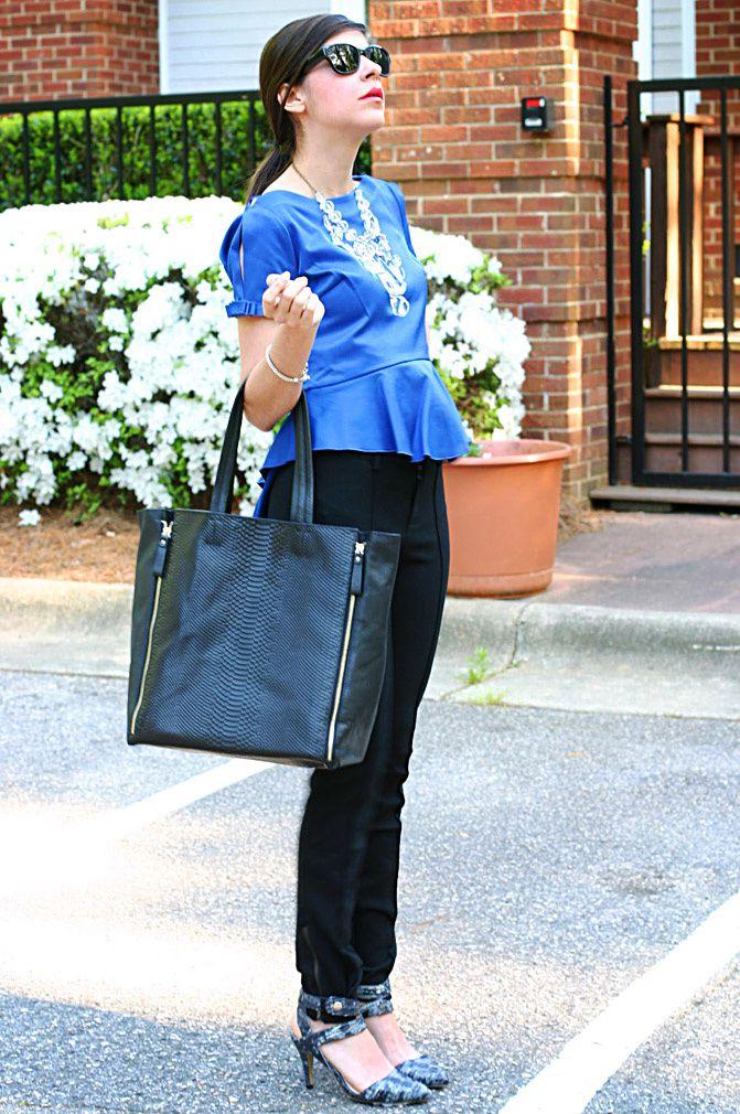 peplum top spiegel, zipper legging skinny pants, snake skin heels, fashion, celine snakeskin