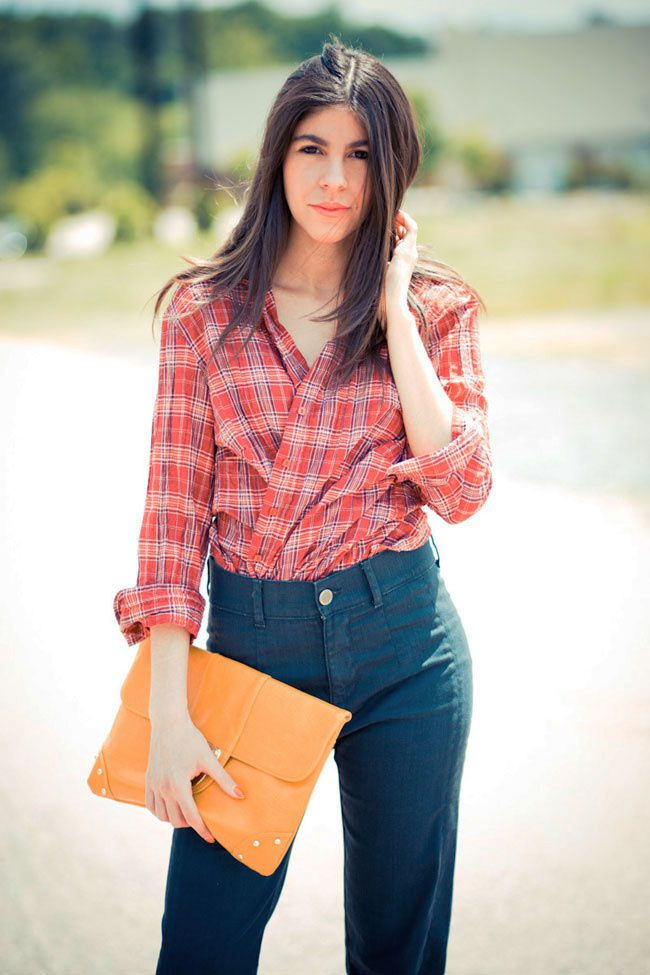 bell bottoms, plaid, fashion outfit