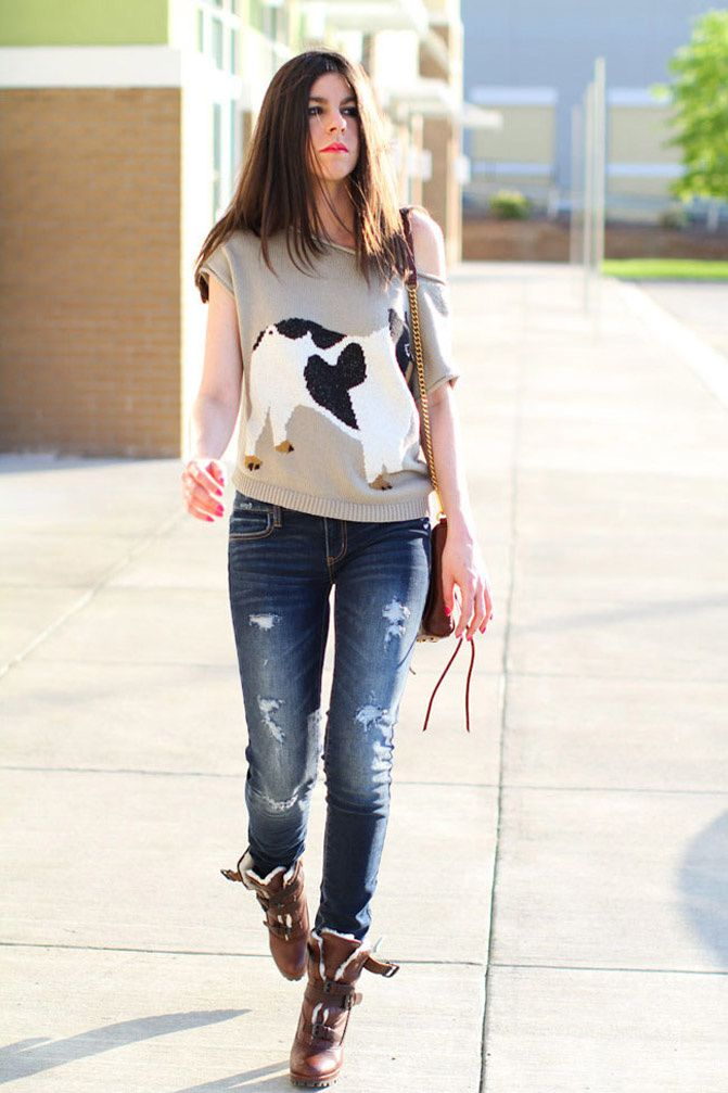 american eagle ripped jeans like Lauren Conrad, shearling boots, rebecca minkoff mac bag