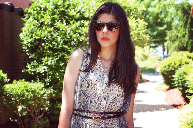 shirt dress, snakeskin print blouse, fashion, sole society, karen walker perfect day sunglasses