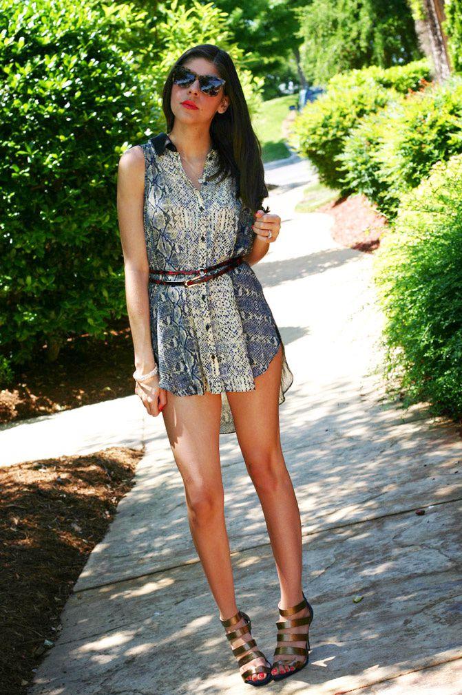 shirt dress, snakeskin print blouse, fashion, sole society, karen walker perfect day sunglasses