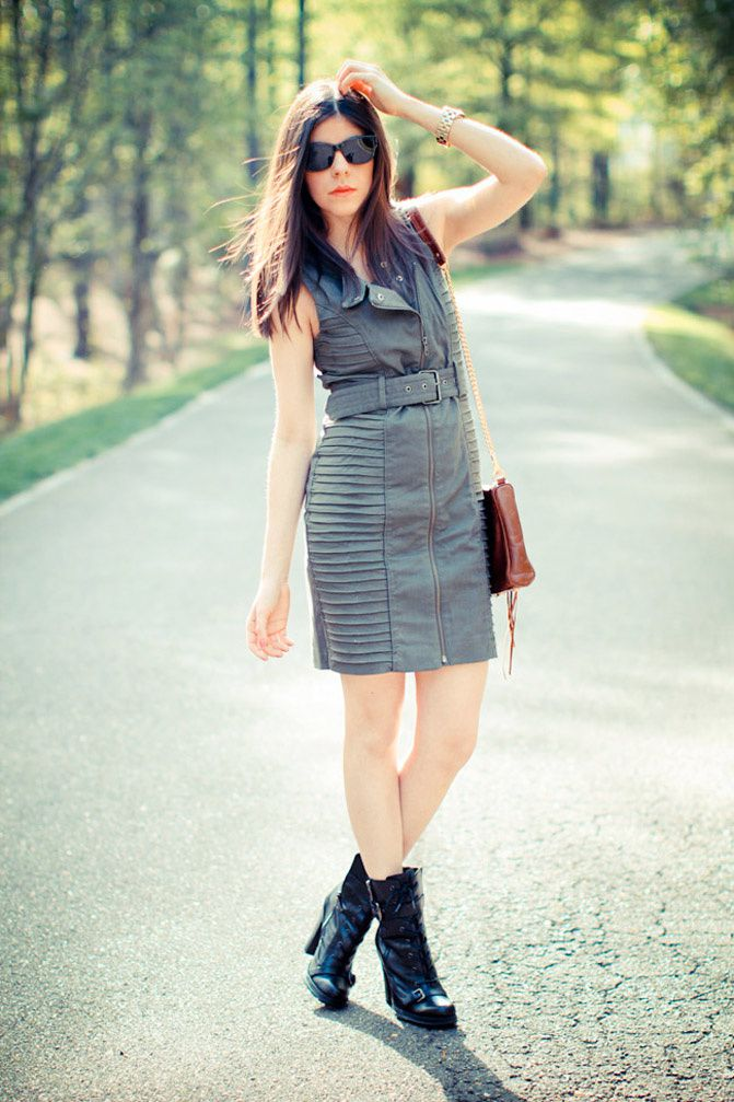 short dress, fashion, rebecca minkoff mac bag,  heel boots