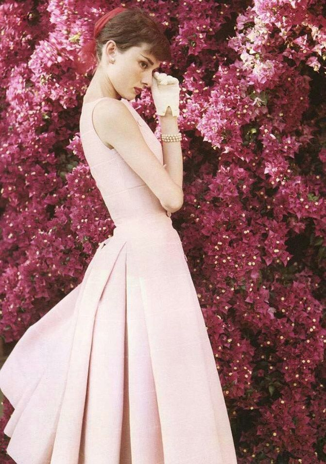 pink dress, Audrey Hepburn fashion, fashion chalet