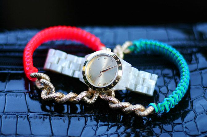 Fashion accessories, alexander wang, neon fashion, gold watches