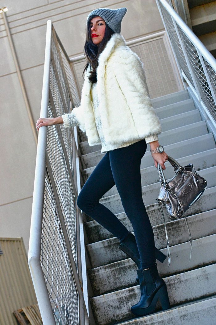 2b83ab52db5 GUESS FAUX FUR COAT TOPSHOP HAT TOPSHOP SWEATER LA MER COLLECTIONS WATCH  AEROPOSTALE LEGGINGS BALENCIAGA FIRST BAG ZARA BOOTS .