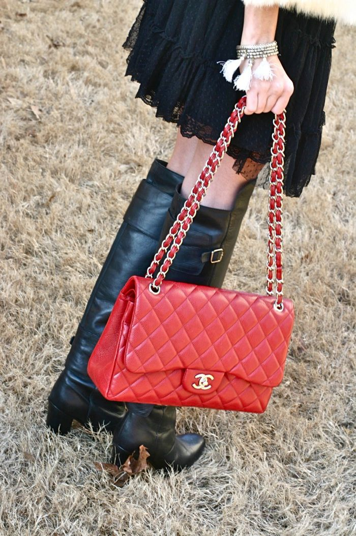 Chanel Red Caviar Jumbo Flap Bag {IN LOVE!}